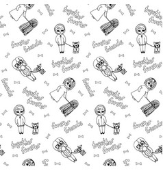 black and white seamless pattern with kids vector image vector image