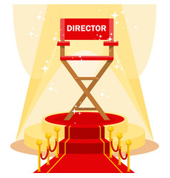 Director chair on red carpet vector