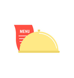 Dish icon with menu sheet vector