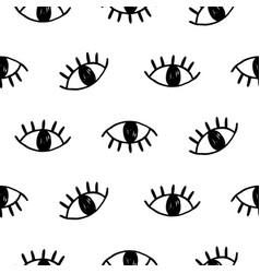 hand drawn open eyes doodles seamless pattern vector image vector image