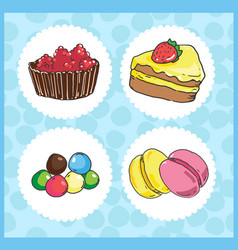 icons of sweets with cake draggee macaroons vector image vector image