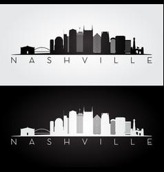 nashville usa skyline and landmarks silhouette vector image vector image