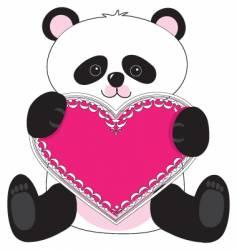 panda heart vector image vector image