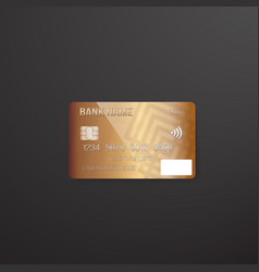 photorealistic credit card on dark background vector image vector image