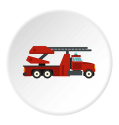 Red fire truck icon circle vector