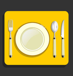 utensils and fork plate knife spoon vector image vector image