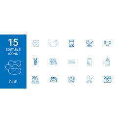 15 clip icons vector