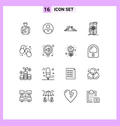 16 universal outlines set for web and mobile vector