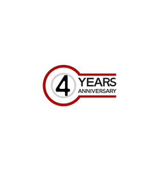 4 years anniversary with circle outline red color vector