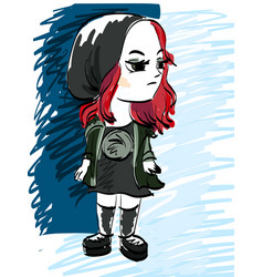 A lonely girl on a gloomy background the child is vector