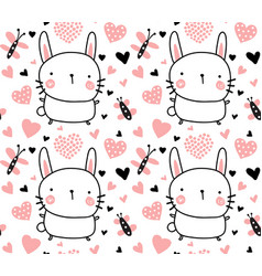 adorable bunny pattern vector image