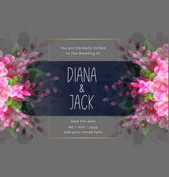 Awesome wedding invitation card with flower vector