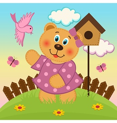 bear girl feeding birds vector image