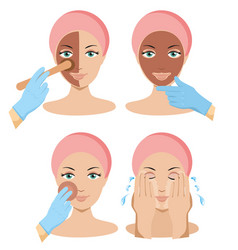 Beauty fashion girl apply different facial masks vector