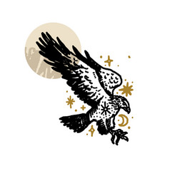 Bird boho eagle magical vintage distressed art vector