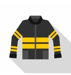 Black and yellow firefighter jacket icon vector