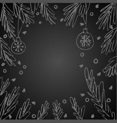 blank speech bubble fir tree branches vector image