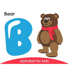 Blue letter b and brown bear vector
