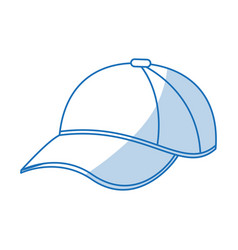 Blue shading silhouette cartoon sport cap headwear vector