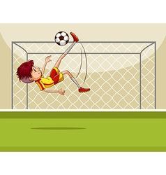 Boy kicking ball in field vector