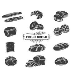 bread glyph icons set vector image
