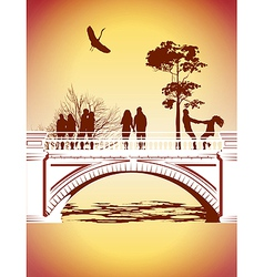bridge in the park vector image