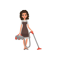 Cartoon character of hotel maid with vacuum vector