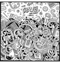 Cartoon cute doodles Travel frame design vector