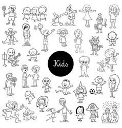 cartoon kids characters set coloring book vector image