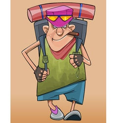 Cartoon male traveler walks with a backpack vector