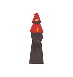 Catholic priest european medieval character in vector