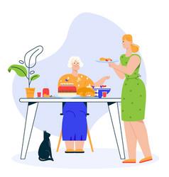 Character family dinner vector