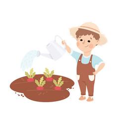 Cheerful boy watering plants depicting gardener vector