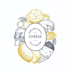 Cheese design template hand drawn dairy engraved vector