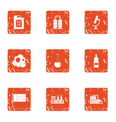 chemical currency icons set grunge style vector image