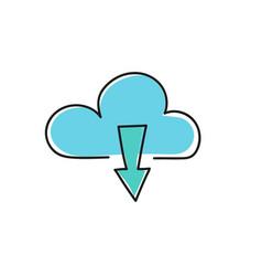 cloud download icon vector image