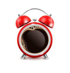 coffee alarm clock realistic vector image