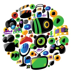 Colorful entertainment and music icons in circle vector
