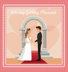 colorful gretting card with couple groom and bride vector image