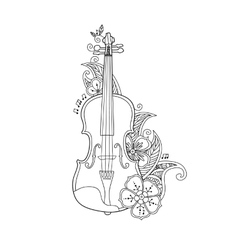 Coloring Page Violin With Flowers And Leafs Vector