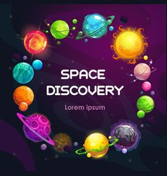 Creative space background with cartoon colorful vector