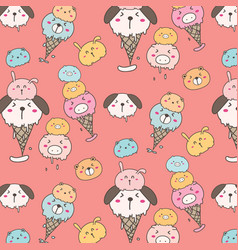 cute animal ice cream pattern background vector image