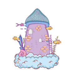 cute fairytale castle in the cloud undersea scene vector image