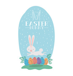 cute rabbit with eggs painted and hand made font vector image