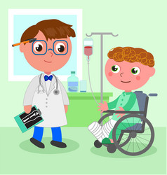 Doctor and young patient in wheelchair vector