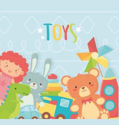 Doll bunny bear dinosaur rocket train car toys vector