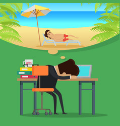 dreams of vacation concept in flat design vector image