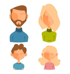 eemotion family people faces cartoon avatar vector image