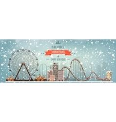 Ferris wheel Winter carnival vector image