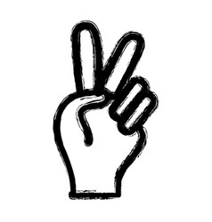 figure nice hand with peace and love symbol vector image